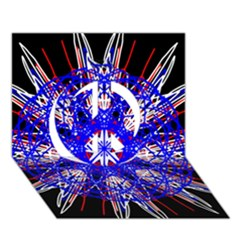 Kaleidoscope Flower Mandala Art Black White Red Blue Peace Sign 3d Greeting Card (7x5)  by yoursparklingshop