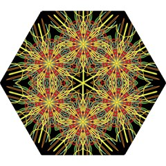 Kaleidoscope Flower Mandala Art Black Yellow Orange Red Mini Folding Umbrellas