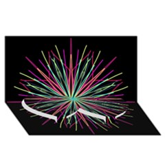 Pink Turquoise Black Star Kaleidoscope Flower Mandala Art Twin Heart Bottom 3d Greeting Card (8x4)  by yoursparklingshop