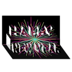 Pink Turquoise Black Star Kaleidoscope Flower Mandala Art Happy New Year 3d Greeting Card (8x4)  by yoursparklingshop