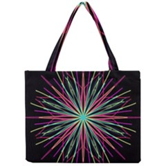 Pink Turquoise Black Star Kaleidoscope Flower Mandala Art Mini Tote Bag by yoursparklingshop