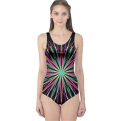 Pink Turquoise Black Star Kaleidoscope Flower Mandala Art One Piece Swimsuit by yoursparklingshop