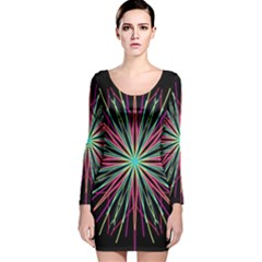 Pink Turquoise Black Star Kaleidoscope Flower Mandala Art Long Sleeve Velvet Bodycon Dress