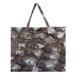 Festive Silver Metallic Abstract Art Zipper Large Tote Bag
