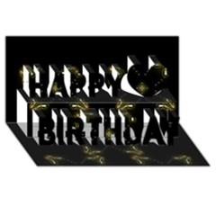 Festive Black Golden Lights  Happy Birthday 3d Greeting Card (8x4)  by yoursparklingshop