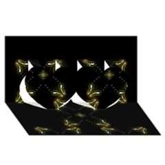 Festive Black Golden Lights  Twin Hearts 3d Greeting Card (8x4)  by yoursparklingshop