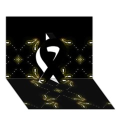 Festive Black Golden Lights  Ribbon 3d Greeting Card (7x5)  by yoursparklingshop
