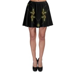 Festive Black Golden Lights  Skater Skirt by yoursparklingshop