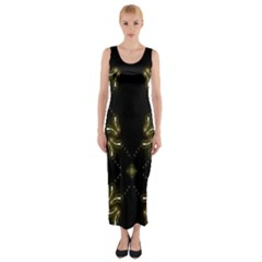 Festive Black Golden Lights  Fitted Maxi Dress