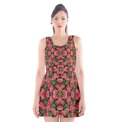 Floral Collage Pattern Scoop Neck Skater Dress by dflcprintsclothing