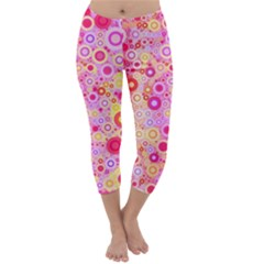 Sweet Pink Bubbles Capri Winter Leggings  by KirstenStar