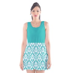 Turquoise Damask Pattern Scoop Neck Skater Dress by Zandiepants