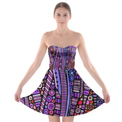 Stained Glass Tribal Pattern Strapless Dresses