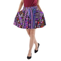Stained Glass Tribal Pattern A-line Pocket Skirt by KirstenStar