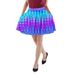 Melting Blues And Pinks A-line Pocket Skirt