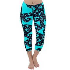 Teal On Black Funky Fractal  Capri Winter Leggings  by KirstenStar