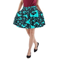 Teal On Black Funky Fractal  A Line Pocket Skirt by KirstenStar