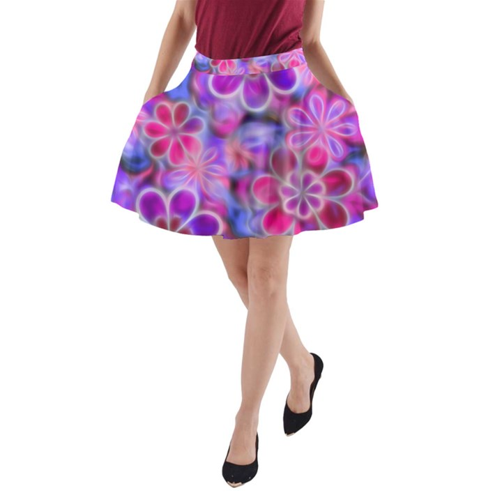 Pretty Floral Painting A-Line Pocket Skirt