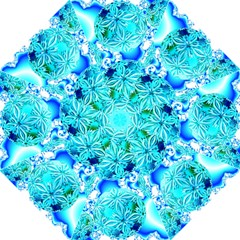 Blue Ice Crystals, Abstract Aqua Azure Cyan Folding Umbrellas by DianeClancy