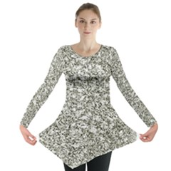 Black And White Abstract Texture Print Long Sleeve Tunic