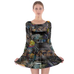 Happy Hallows Eve Long Sleeve Skater Dress by canvasngiftshop