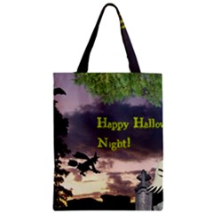 Happy Halloween Night Witch Flying Zipper Classic Tote Bag by canvasngiftshop