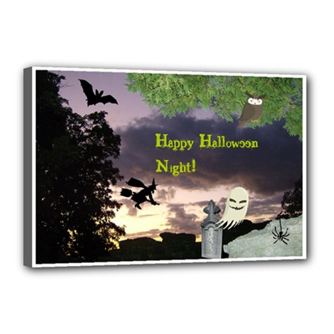 Happy Halloween Night Witch Flying Canvas 18  X 12  by canvasngiftshop