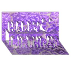 Festive Chic Purple Stone Glitter  Happy Birthday 3d Greeting Card (8x4)  by yoursparklingshop