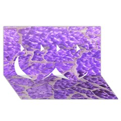 Festive Chic Purple Stone Glitter  Twin Hearts 3d Greeting Card (8x4)  by yoursparklingshop