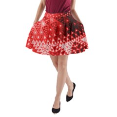 Red Fractal Lace A-line Pocket Skirt by KirstenStar