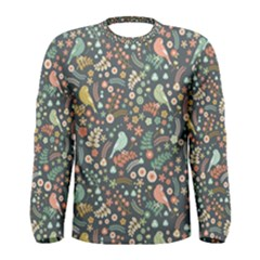 Vintage Flowers And Birds Pattern Men s Long Sleeve Tee