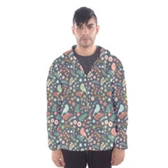 Vintage Flowers And Birds Pattern Hooded Wind Breaker (men) by TastefulDesigns