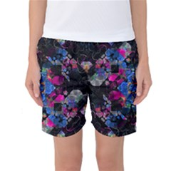 Stylized Geometric Floral Ornate Women s Basketball Shorts by dflcprintsclothing