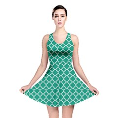 Emerald Green Quatrefoil Pattern Reversible Skater Dress by Zandiepants