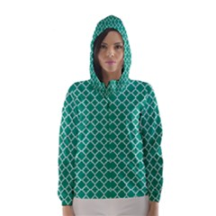 Emerald Green Quatrefoil Pattern Hooded Wind Breaker (women) by Zandiepants