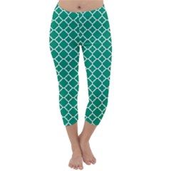 Emerald Green Quatrefoil Pattern Capri Winter Leggings  by Zandiepants
