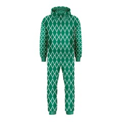 Emerald Green Quatrefoil Pattern Hooded Jumpsuit (kids) by Zandiepants