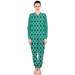 Emerald Green Quatrefoil Pattern Onepiece Jumpsuit (ladies) by Zandiepants