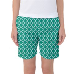 Emerald Green Quatrefoil Pattern Women s Basketball Shorts by Zandiepants