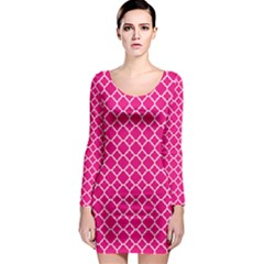 Hot Pink Quatrefoil Pattern Long Sleeve Bodycon Dress by Zandiepants