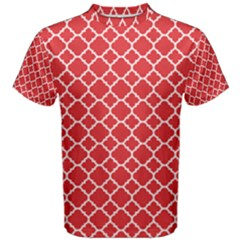 Red White Quatrefoil Classic Pattern Men s Cotton Tee by Zandiepants