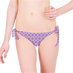 Purple Lilac White Quatrefoil Classic Pattern Bikini Bottom by Zandiepants