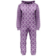 Lilac Purple Quatrefoil Pattern Hooded Jumpsuit (ladies) by Zandiepants