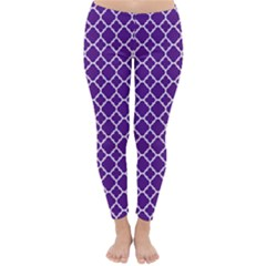 Royal Purple Quatrefoil Pattern Winter Leggings  by Zandiepants