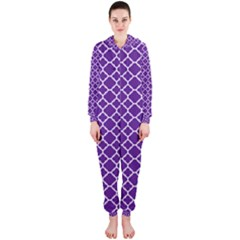 Royal Purple Quatrefoil Pattern Hooded Jumpsuit (ladies) by Zandiepants