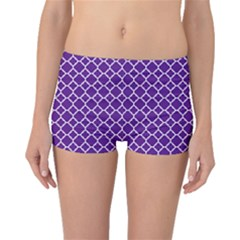 Royal Purple Quatrefoil Pattern Boyleg Bikini Bottoms by Zandiepants