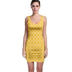 Sunny Yellow Quatrefoil Pattern Bodycon Dress by Zandiepants