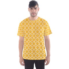 Sunny Yellow Quatrefoil Pattern Men s Sport Mesh Tee by Zandiepants