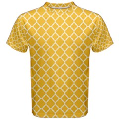 Sunny Yellow Quatrefoil Pattern Men s Cotton Tee by Zandiepants