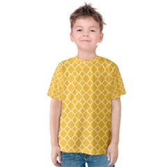 Sunny Yellow Quatrefoil Pattern Kid s Cotton Tee by Zandiepants